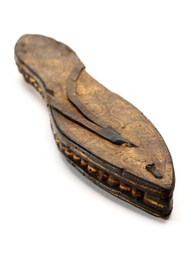 Title: One sandal, gilded and incised leather and papyrus, Egypt Artist: Date: c30 BCE-300 CE Credit line: © Victoria and Albert Museum, London