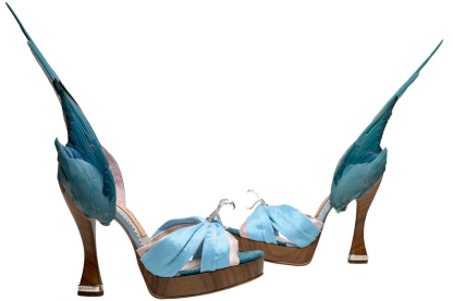 Title: 'Parakeet' shoes Artist: Caroline Groves, England 2014 Date: Credit line: Photography by Dan Lowe